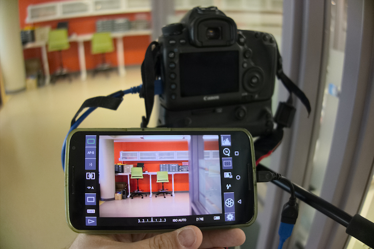 A camera set up with DSLR Controller