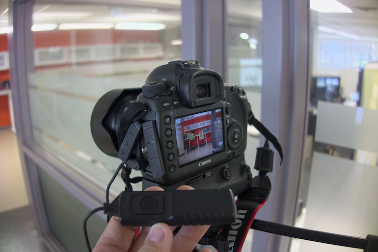a camera set up for live view with a camera cable