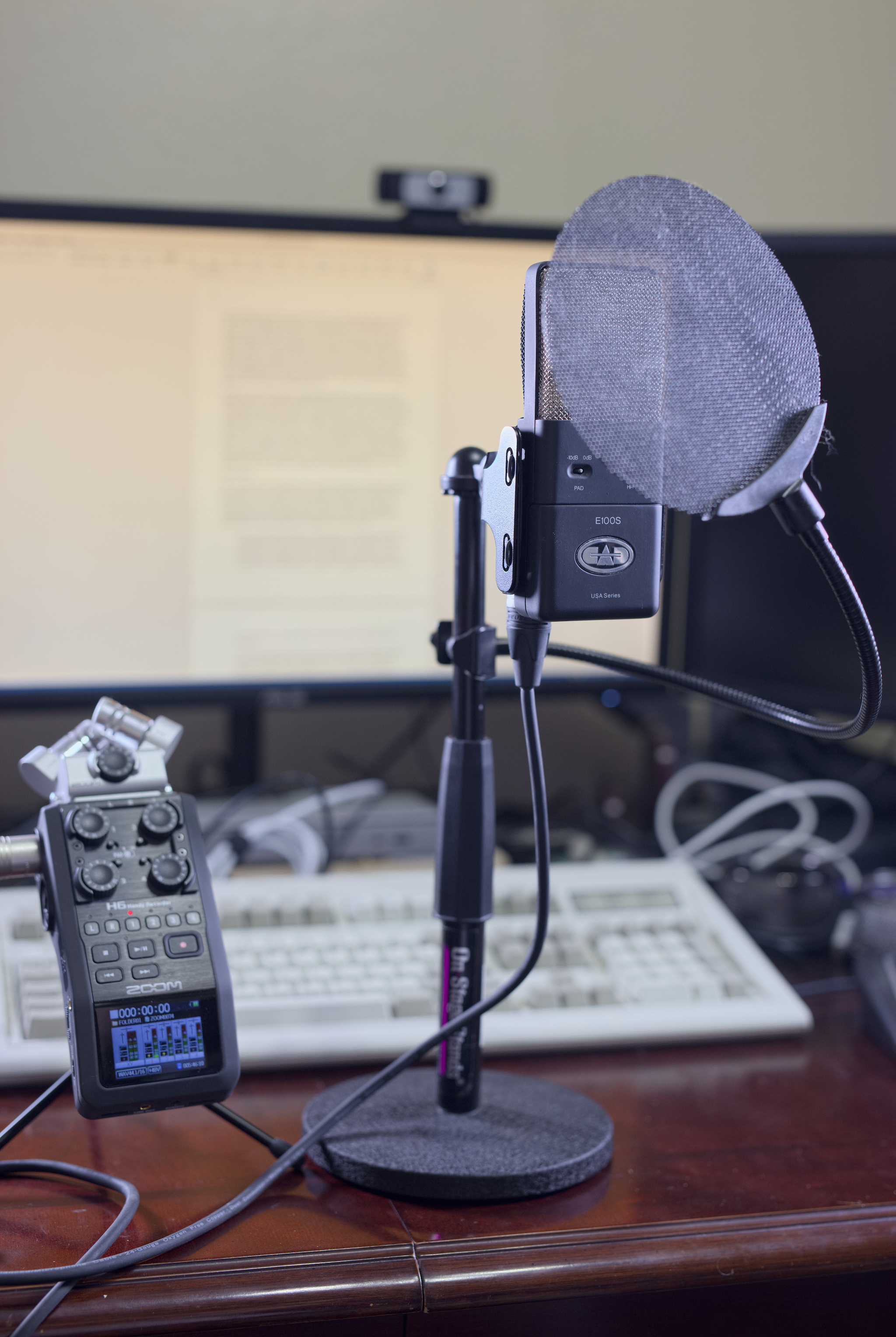 A picture of a microphone and audio interface.