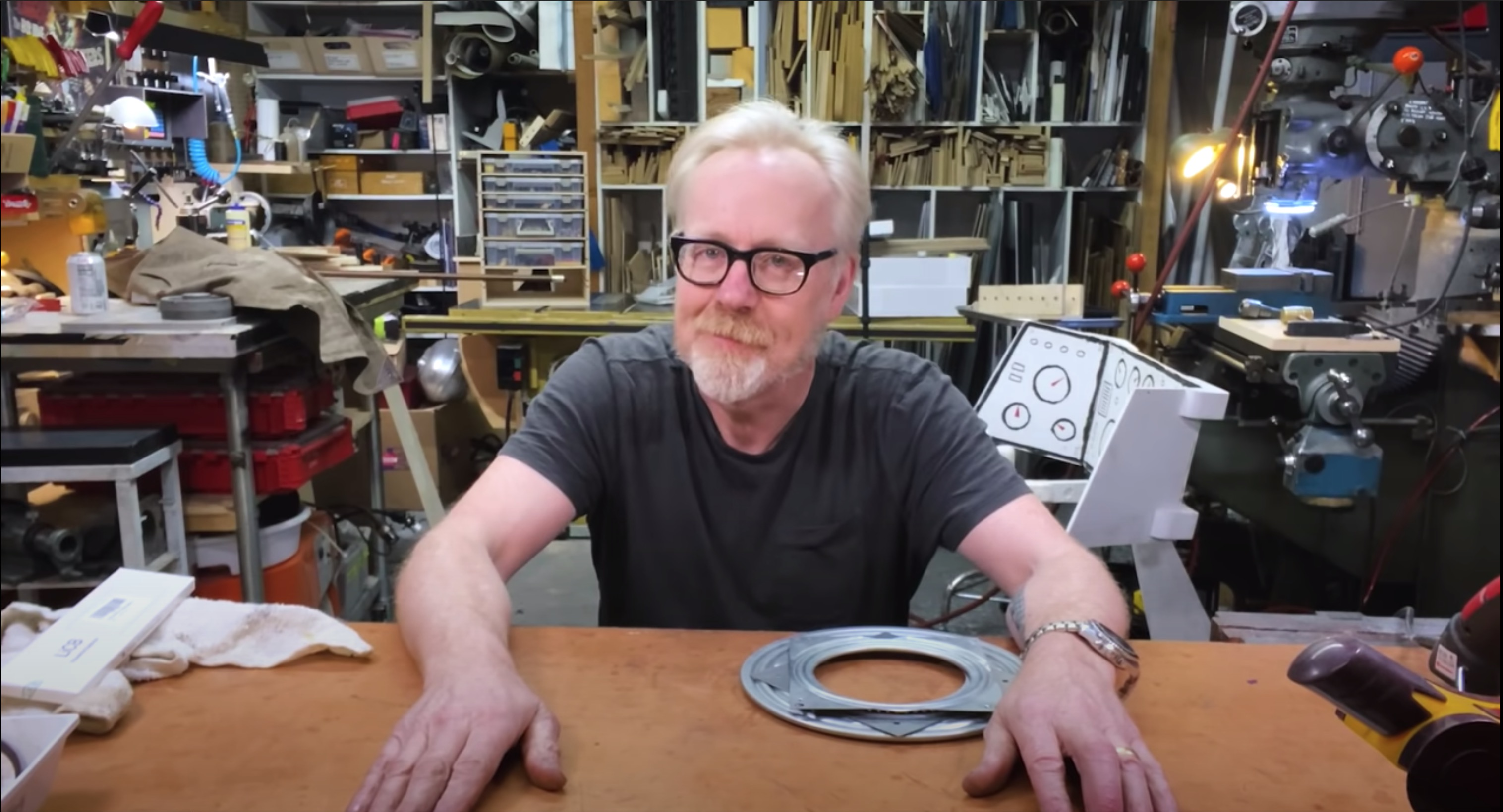 A frame from Adam Savage's Tested YouTube Series.